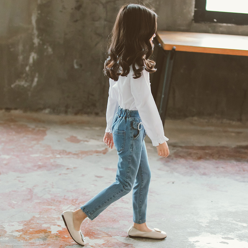 Childrens clothing new 2019 autumn white shirt+jeans 2pcs big girls clothing set autumn teens girls clothes jeans suit 3