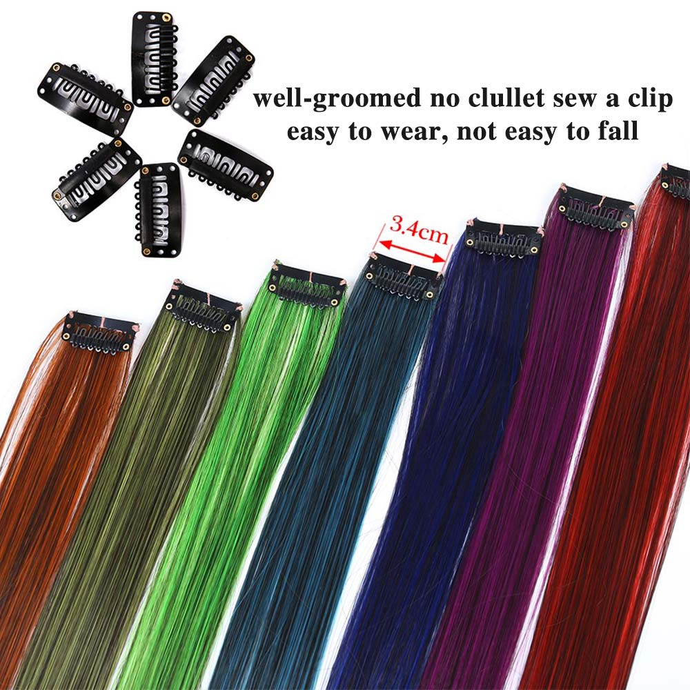 Hb33b59b38aab4024b25cf739f18234a4i - MSTN  Long Straight Fake Colored Hair Extensions Clip In Highlight Rainbow Hair Streak Pink Synthetic Hair Strands on Clips