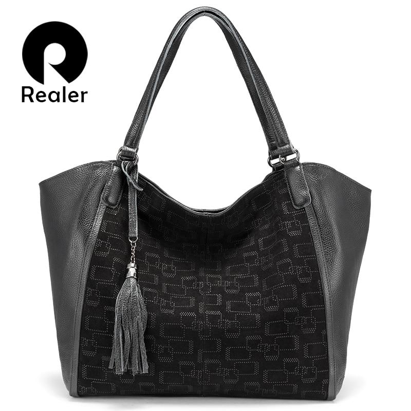 REALER Leisure Women Handbags Female Genuine Leather Totes Ladies Large Capacity Shoulder Bags Messenger Bag With Tassel 2019