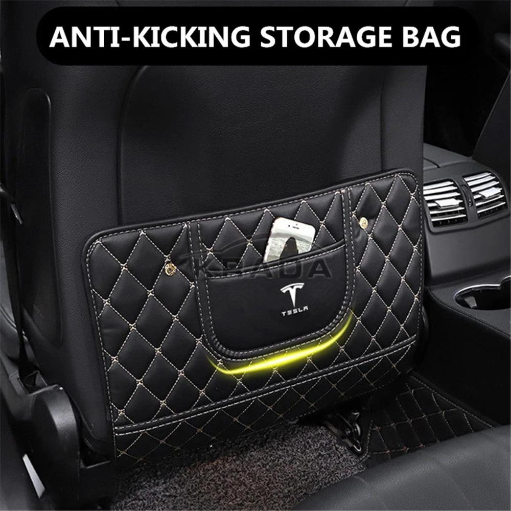 BASENOR/Tesla Model 3 Model Y Leather Seat Back Kick Protectors Kick Mats with Storage Bag Black 1 Pack
