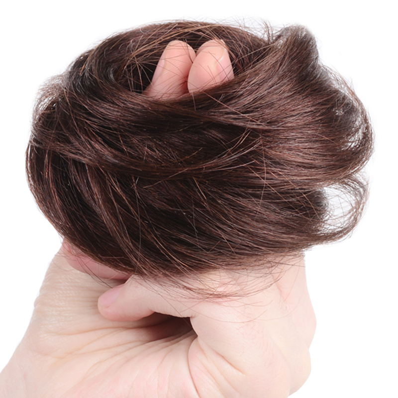 Bybrbana  Brazil Curly Chignon Hair Clip In Hairpiece Extensions Bun For Brides 11 Colors  100% Human  Non-Remy Hair