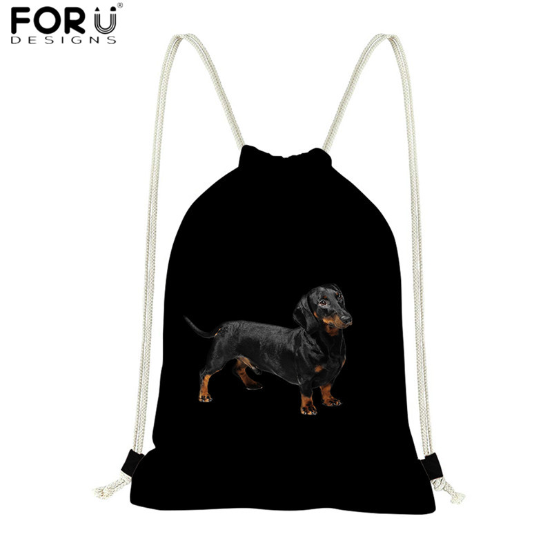 FORUDESIGNS Black Drawstring Bags Animal Dachshund Dog Printed Polyester Sport Shoes Bag Backpack Eco-friendly Beach Bag Bolsa