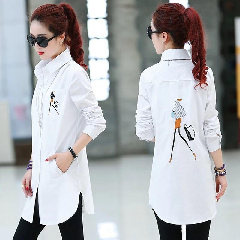 Blouse Women Elegant Embroidery White Shirt Plus Size 2019 Ladies Office Shirts Formal Casual Cotton Blouses Blusas Femininas