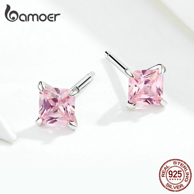 bamoer Pink Princess Cubic Zirconia Stud Earrings for Women Anti-allergy 925 Sterling Silver Wedding Statement Jewelry SCE660