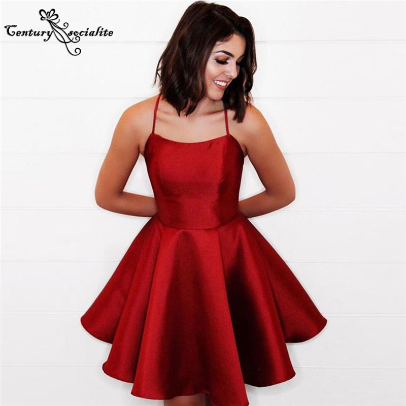 Red Homecoming Dresses Short 2021 Spaghetti Straps Backless Sexy Cocktail Dress Prom Dress Graduation Gowns Vestido De Fiesta