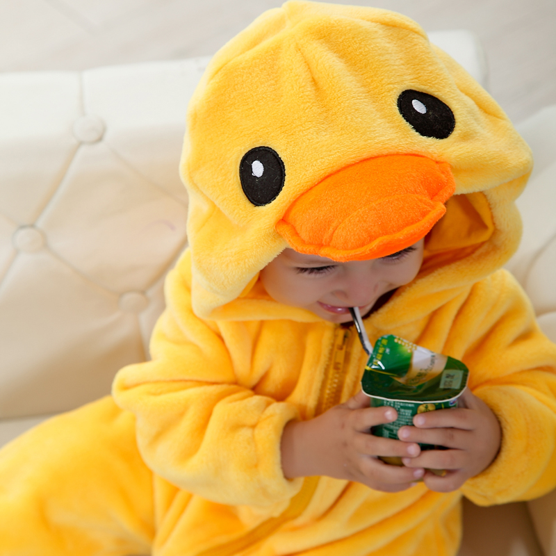 Image 2 - Umorden Baby Yellow Duck Costume Cosplay Kigurumi Cartoon Animal Rompers Infant Toddler Jumpsuit Flannel Halloween Fancy Dress
