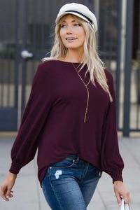 Image 5 - לואיס ג ייסון חדש חולצה נשים בגדים חם אירופאי טהור צבע עגול צווארון פנס ארוך שרוול Loose שרוול למעלה נשים harajuku
