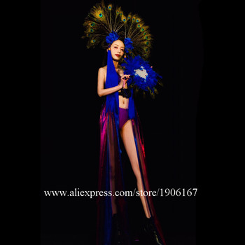 Nightclub Bar Singer Dance Team Halloween Peacock Feather Costume Stage Performance Cosplay Party Dress Clothes