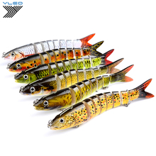 YLEO 1pc 8 Sections Swim bait Fishing Lure 12.5cm-5/0.661oz-18.74g 6# Good Quality Hook Tackle