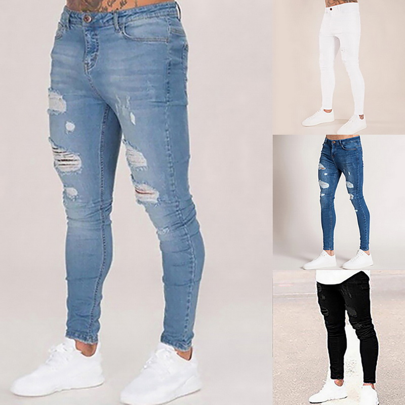 Mens Solid Color Jeans New Fashion Slim Denim Pencil Pants Hip Hop Ripped Sexy Casual Hole Ripped Design Trousers Streetwear
