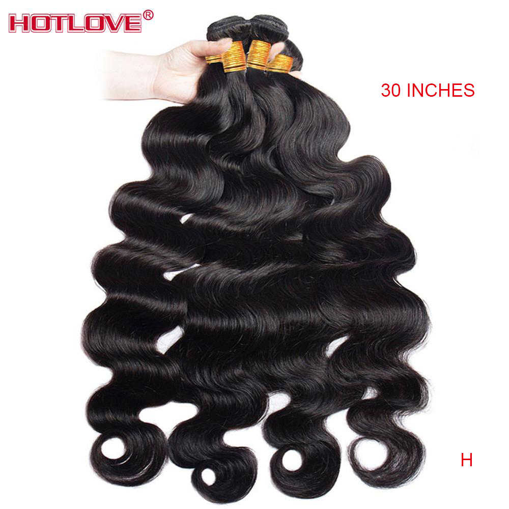 "Malaysian Body Wave Bundles 8-40"" Mixed Long Hair 100% Human Hair Weave 3/4 Bundles Hair Natural Color Non-Remy Hair Extensions"