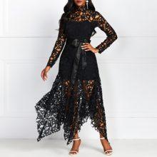 Sexy Hollow Lace Elegant Evening Party Dress Women Irregular Plus Size Long Dresses Summer Lace Up Mesh Bodycon Black Maxi Dress stylish cami lace women s bodycon dress