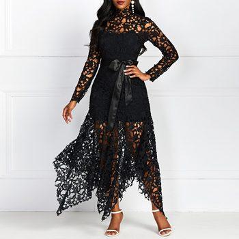 Sexy Hollow Lace Elegant Evening Party Dress Women Irregular Plus Size Long Dresses Summer Lace Up Mesh Bodycon Black Maxi Dress plus mesh panel lace dress