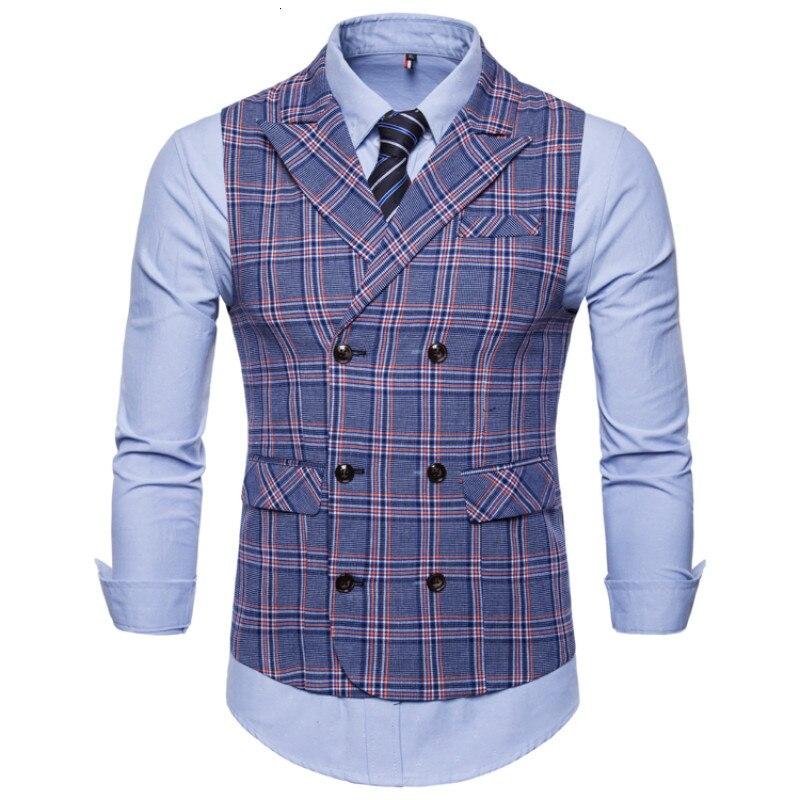 2019 Fashion Nieuwe Mannen Casual Boutique Business Plaid Vest/mannen Slim Business Double Breasted Vest