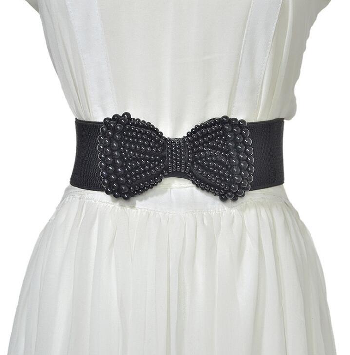 Women's Runway Fashion Beaded Elastic Bow Cummerbunds Female Dress Corsets Waistband Belts Decoration Wide Belt R2528