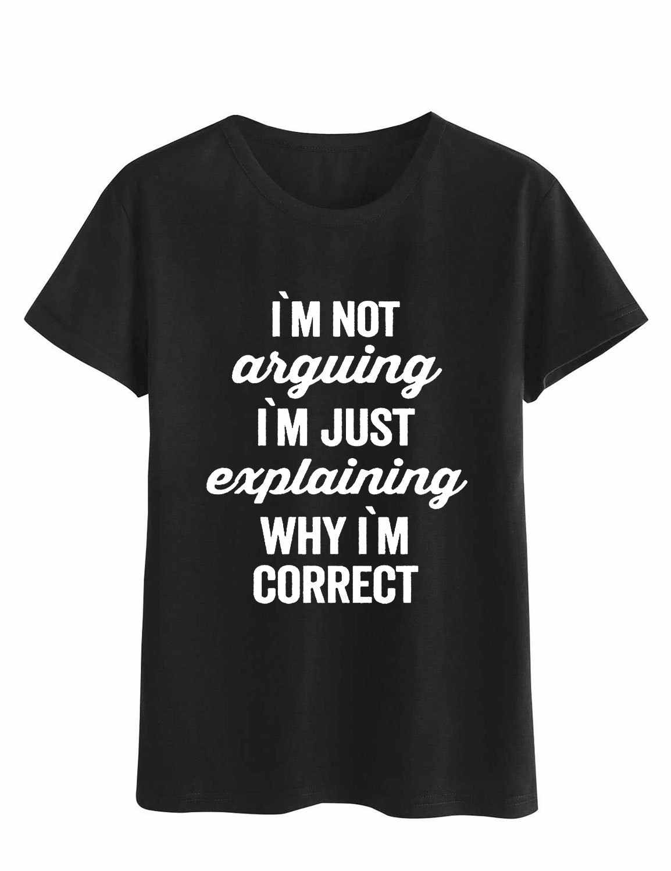 IM değil savunmayı mektubu baskı T Shirt kadın kısa kollu O boyun gevşek gömlek 2020 yaz moda kadın Tee gömlek tops