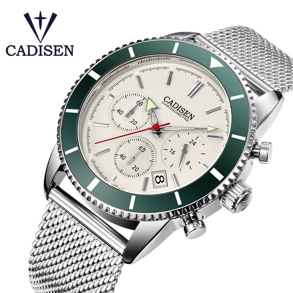 CADISEN Mens Watches Waterproof Quartz Watch Men Fashion Chronograph Sport Wristwatch Relogio Masculino