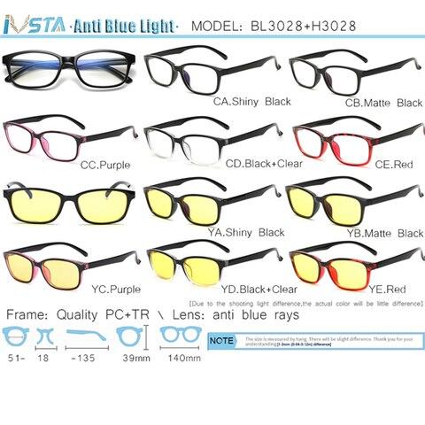IVSTA Computer Glasses Blue Light Blocking Anti Blue Rays Gaming for Gamer Prescription Nerd Optical Night Vision Dropshipping Karachi