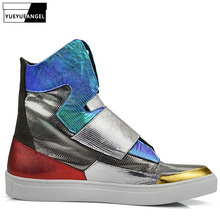 Fashion Summer High Top Mens Shoes Genuine Cow Leather Hip Hop Ankle Shoes Mixed Colors Flats Motorcycle Boots Men Plus Size