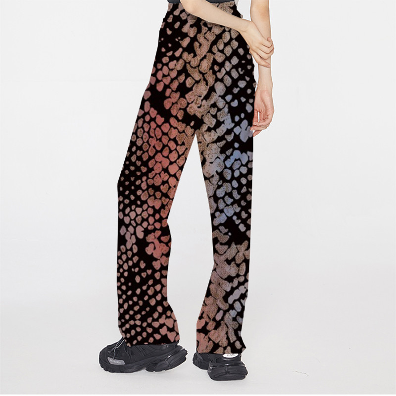 Focal20 Streetwear Colorful Snakeskin Print Women Pants Elastic Waist Wide Leg Female Trousers Casual Loose Autumn Lady Bottoms 1