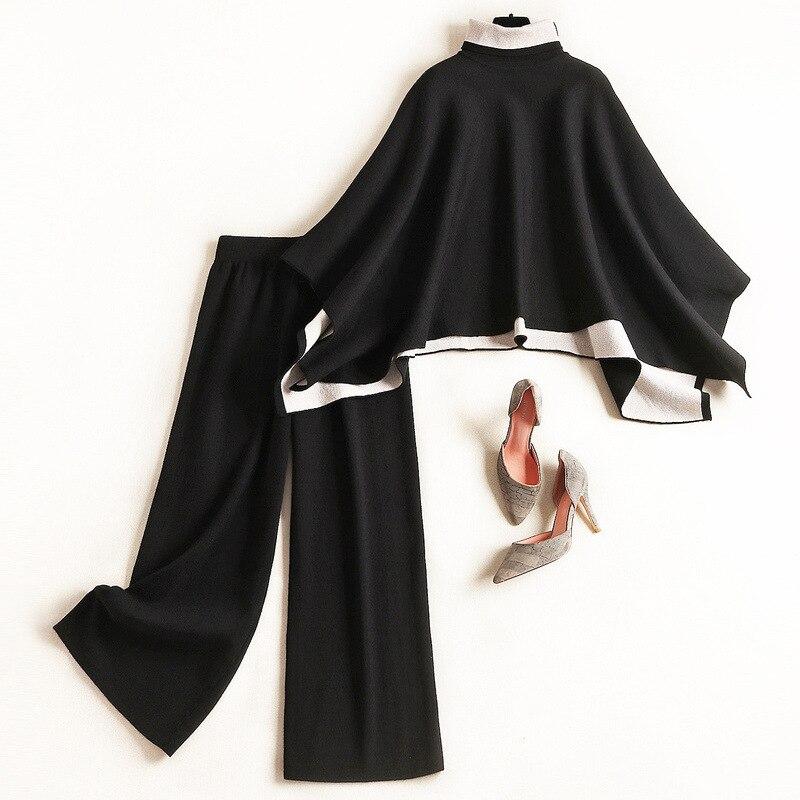 Autumn Winter Two Pieces Pants Set 2019 Elegant Turtleneck Knit Cloak Sweater & Elastic Waist Straight Trousers Suit