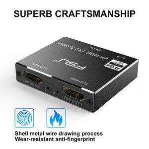Image 2 - FSU 2,0 HDR 4K @ 60 HDMI divisor Full HD Conmutación de vídeo HDMI Switcher 1X2 Split 1 in 2 Out amplificador pantalla Dual para HDTV DVD PS3