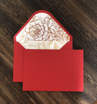 Red and burgundy invitation envelope with gold foil floral ,custom writing ,50 pcs
