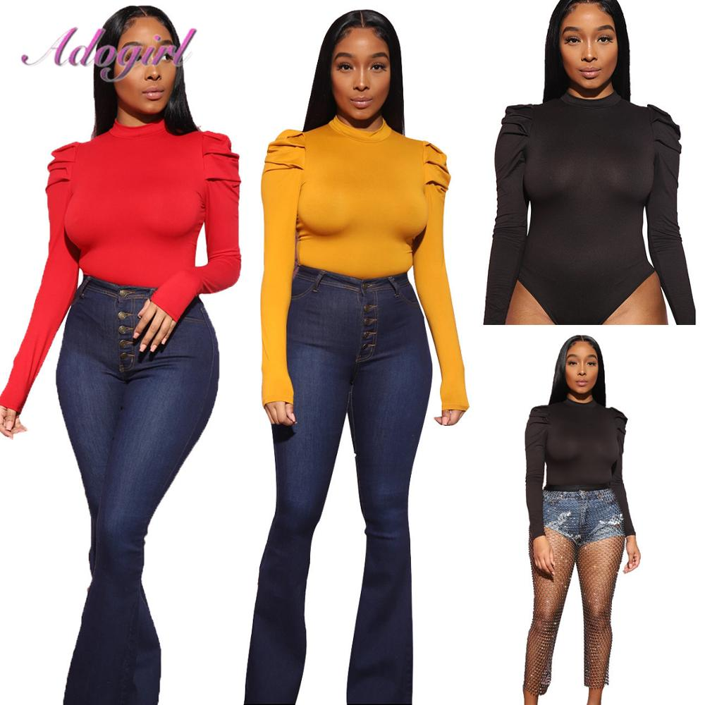 Sexy Solid Long Puff Sleeve Basic One Piece Bodycon Bodysuit Women Spring Outwear Body Tops Tee Female Outfit Jumpsuit Rompers