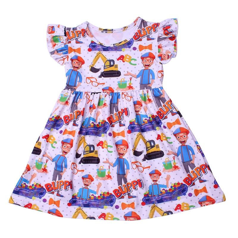 New Fashion Girls Dress Puffy Sleeve Kids Cartoon Clothing Soft Milksilk Children Birthday Party Dress Wholesales 12M to 7T 6