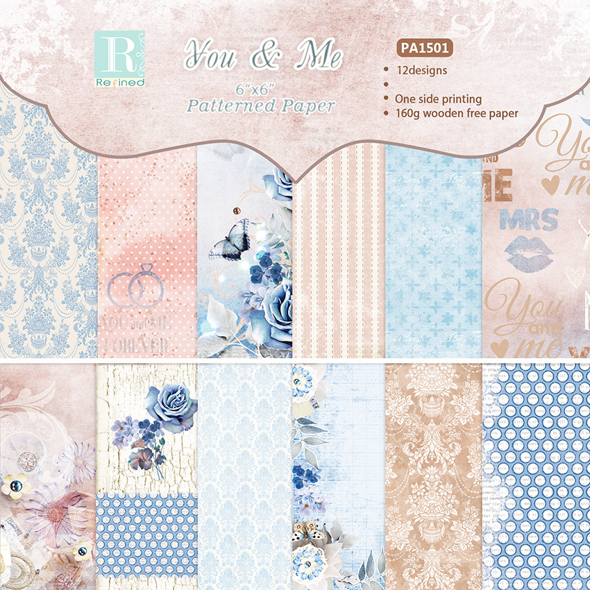 12pc Butterfly Flower Patterned Scrapbooking Packs Paper Handmade Craft Paper Card Making DIY Photo Album  Background Pads Paper