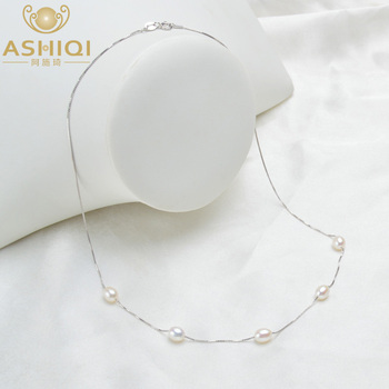 ASHIQI Real Pure 925 Sterling Silver Necklace Chain 6-7mm Natural Freshwater Pearl Pendant Jewelry For Women Gift jiuduo exquisite pure natural freshwater pearl for women brooch for dance occasions