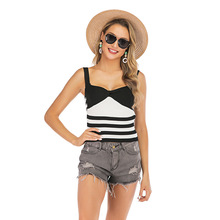 Striped Color Matching Knit Camisole Female Sexy Summer New Fashion Wild Tank Top