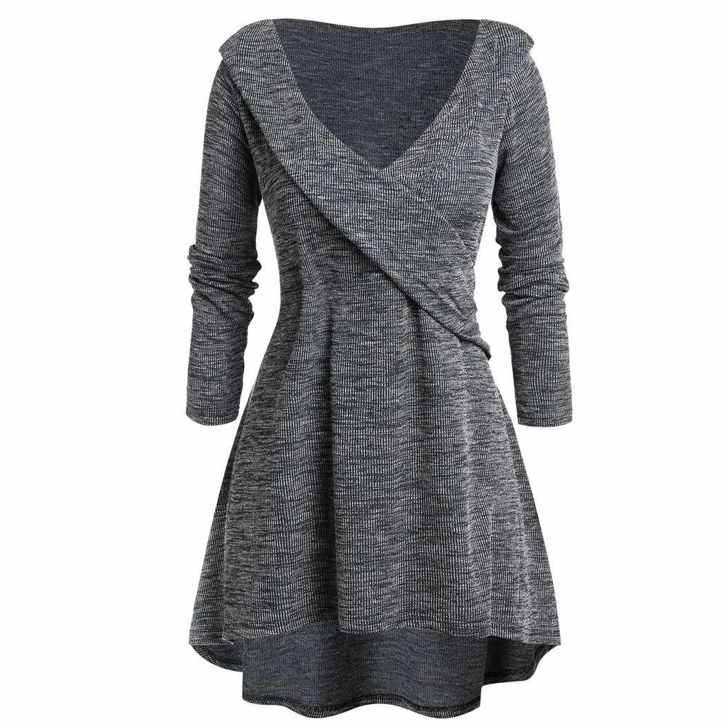 Plus Size Fashion Wrap V-hals Lange Blouse Toevallige Winter Dame Bodem Trui Tops Vrouwelijke Womens Lange Mouw Blusas Trui
