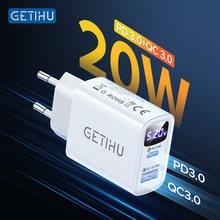 GETIHU – chargeur USB 20W PD adaptateur ue, Charge rapide pour téléphone Portable, pour iPhone 12 11 Pro Xr Xs Max 6 7 8 iPad Huawei Xiaomi Samsung