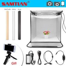 SAMTIAN صندوق إضاءة 40 سنتيمتر المحمولة سوفت بوكس استوديو الصور صندوق الضوء مع 3 ألوان خلفية للمجوهرات لعبة التصوير خيمة نوم