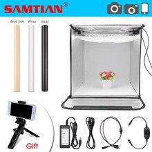 SAMTIAN אור תיבת 40cm נייד Softbox תמונה סטודיו Lightbox עם 3 צבעים רקע עבור תכשיטי צעצוע צילום חדר אוהל