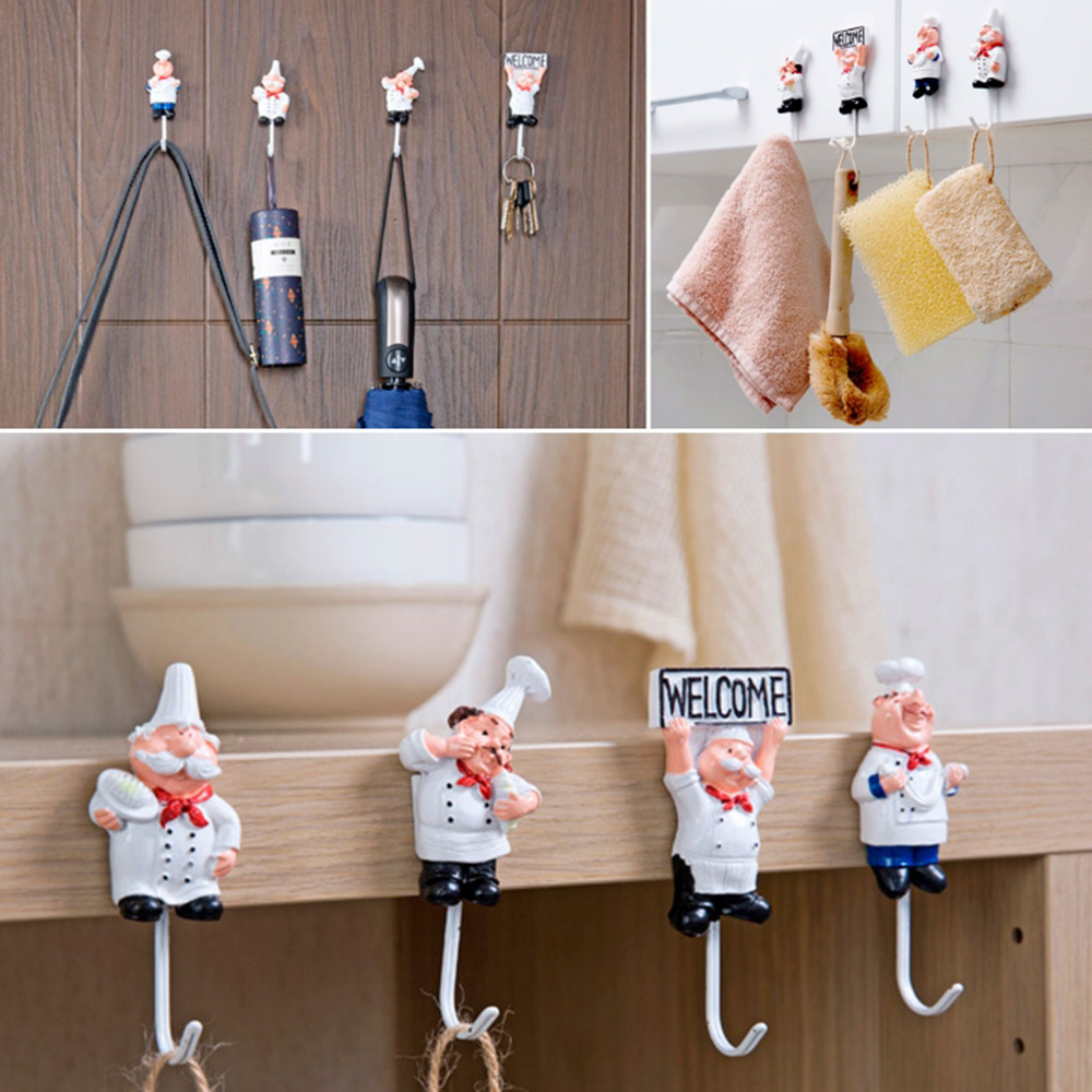 1PCS Stainless Steel Hook Creative Cartoon Chef Shape Cute Shaped Hook For Kitchen Bathroom Towel Hook Wall Hook Home Organizer