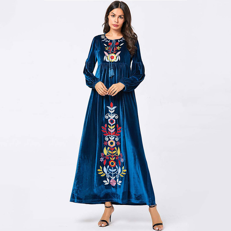 European And American Fashion Large Size Robe Women's Blue Plant Embroidered Dress Muslim Arab Casual Gold Velvet Dress