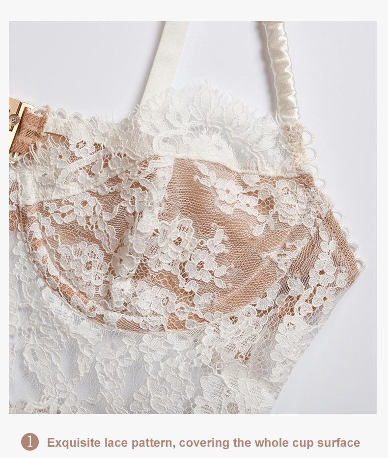 Hb33d20de4a044f339417f9c4b6ba5d543 Sexy Lingerie French Women's underwear Mesh Cutout Lace Flower Embroidery Bralette Bra Comfort Push up Eyelash Female Underwear