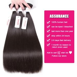 Image 2 - Tuneful reta cabelo humano 3 pacotes com frontal malaio remy cabelo pré arrancado 13x4 fechamento frontal do laço com pacotes