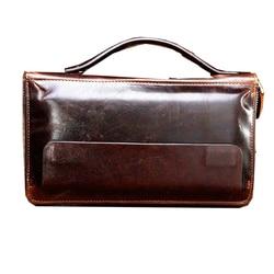 Retro Genuine Leather wallet Day clutch bag men card holder wallet business zipper wallet coin purse fashion mobile phone bag