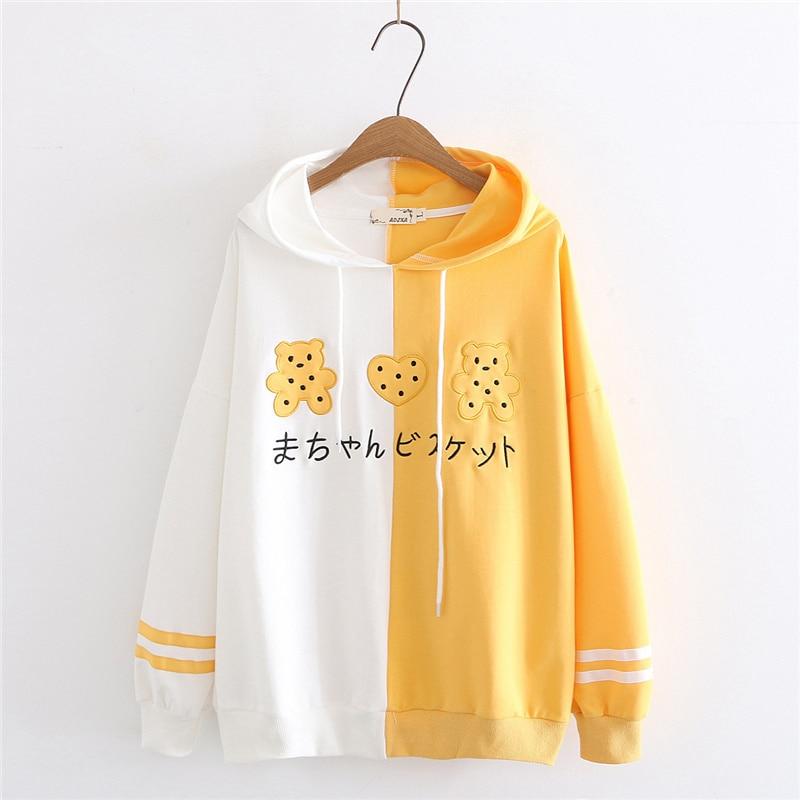 2020 Spring Women Kawaii Hooded Hoodie Japanese Sweet Bear Embroidery Sweatshirt Teens Girl Harajuku Cute Yellow Loose Pullover