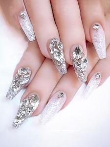 100Pcs Crystal White Nail Art Rhinestone Accessories Flat Glass Stone Strass Mixed Shape DIY Fashion 3D Fingernail Decoration