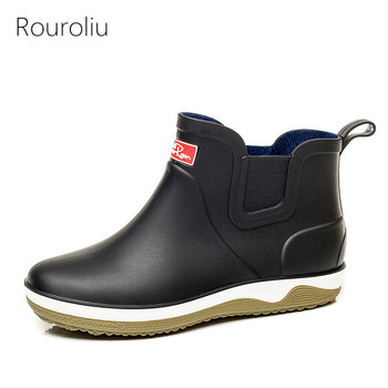 side flower rain boots women waterproof rubber fashion rainboots wedges casual high quality ankle short boots water shoes female Rouroliu Men Fashion Rain Boots Anti Slip Short Ankle Work Boots Waterproof Fishing Garden Water Shoes Elastic Band