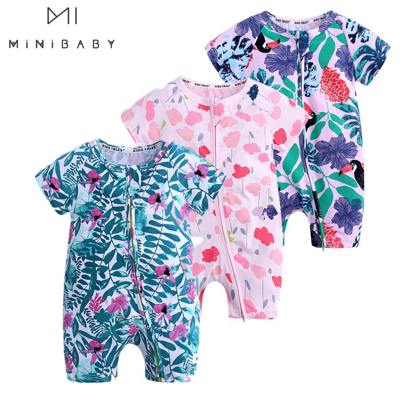 Summer Newborn-36M Fashion Boy And Girl Romper Infant  Jumpsuit Printed Flower Short-sleeved Jumpsuit Cotton Brand Baby Clothes