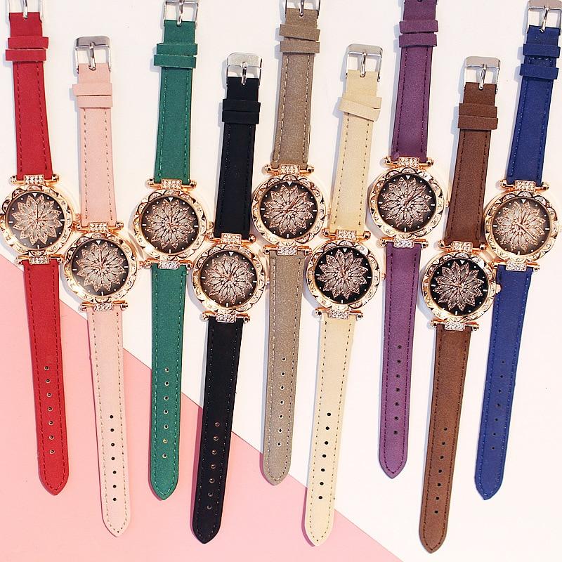 2019 Women Watches Set Starry Sky Ladies Bracelet Watch Casual Leather Sports Quartz Wristwatch Clock Relogio