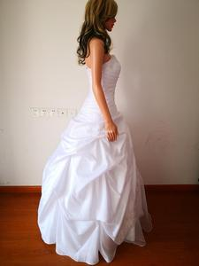 Image 4 - Classic Taffeta A Line In Stock Wedding Dress With Flowers Sweetheart Garden Bridal Gown Floor Length