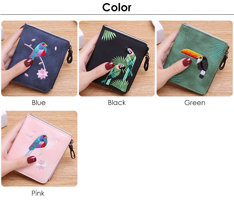 Hb33d83db31574332a31f90272bb679c0B - Women's Coin Wallet | Bird Embroidered