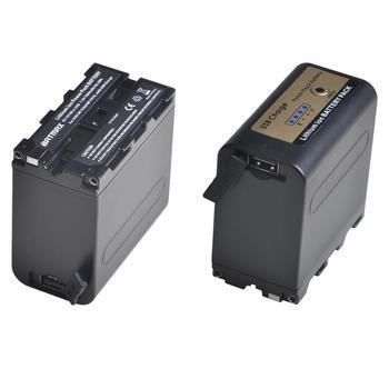 Salida USB 2 uds 7800mAh batería de NP-F970 con indicador de potencia LED para Sony NP-F970, NP-F975, NP-F960, NP-F950, NP-F930, DCR, DSR,