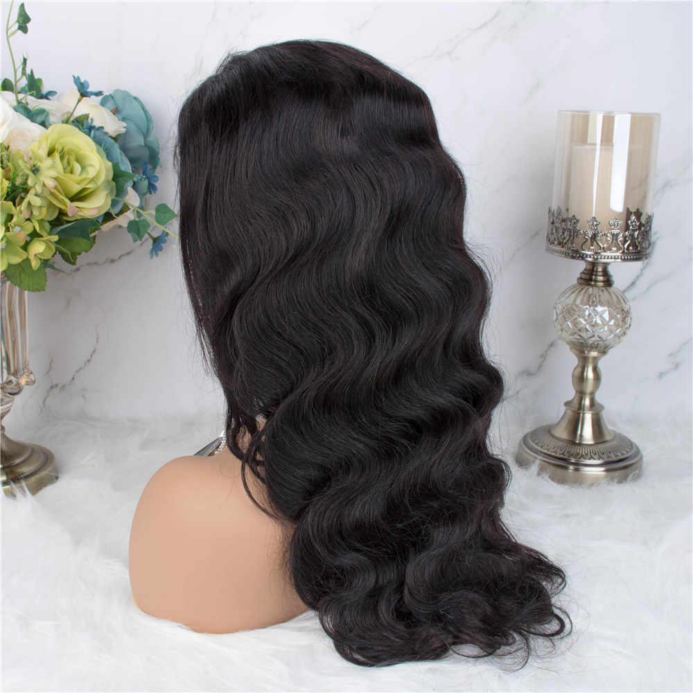 360 czołowa koronki peruka peruki z ludzkich włosów ciało fala koronki Frontal włosów ludzkich peruk Pre oskubane nagłówek z dzieckiem włosy nie Remy włosy
